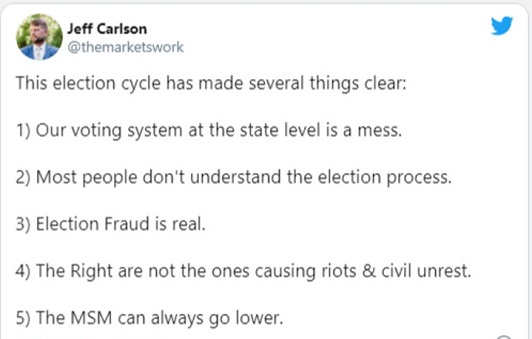 tweet jeff carlson election cycle clear voting system mess fraud real mainstream media can always go lower