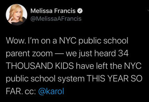 tweet melissa francis zoom 34 thousand kids left public school system so far