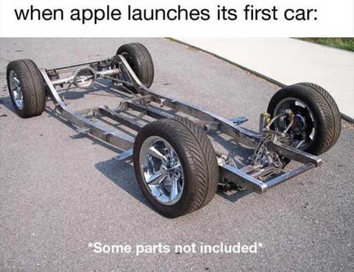 when apple launches first car frame tires only some parts not included