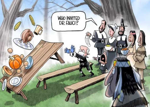 who invited dr fauci thanksgiving pilgrims picnic table