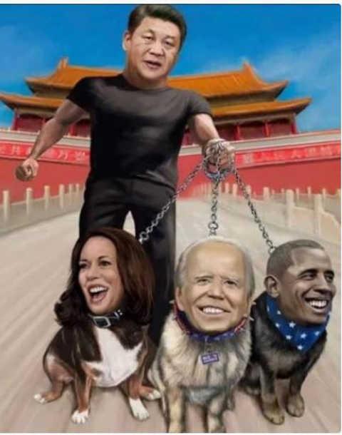 china holding kamala harris joe biden barack obama on leashes dog