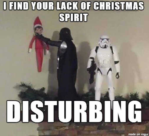 darth vader elf shelf find your lack of christmas spirit disturbing choke