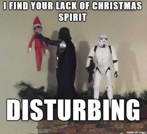 darth vader elf shelf find your lack of christmas spirit disturbing choke