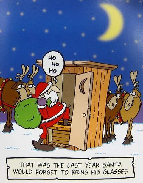 last year santa forget glasses outhouse
