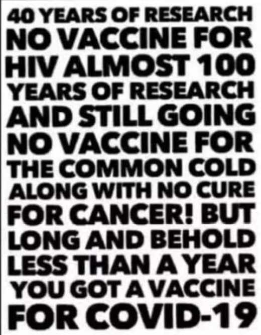 message 40 years research no hiv vaccine common cold flu cancer less than year covid 19