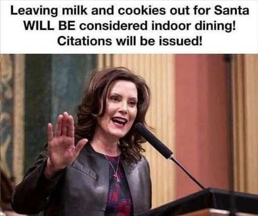 mi governor whitmer leaving milk cookies santa indoor dining citations issued