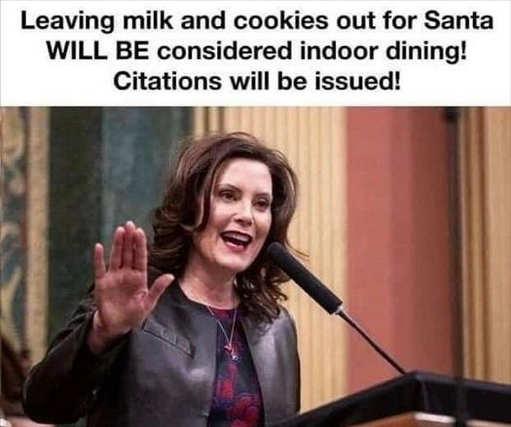 mi governor whitmer leaving milk cookies santa indoor dining citations issued