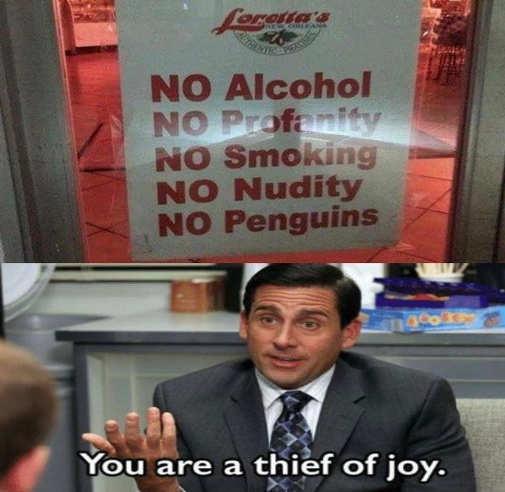 no alcohol profanity smoking nudity penguins thief of job