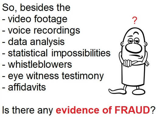 question besides video data analysis stat impossibility eye witness any evidence of fraud