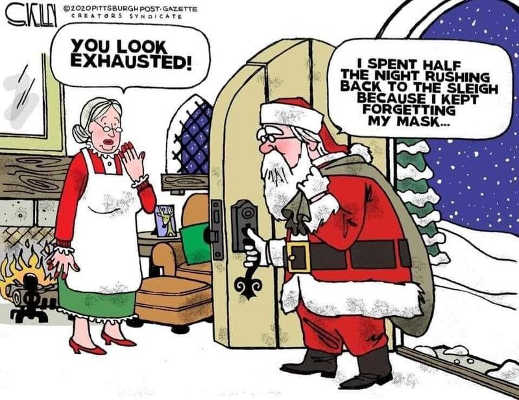 santa you look exhausted spent half the night back to sleigh forgot mask