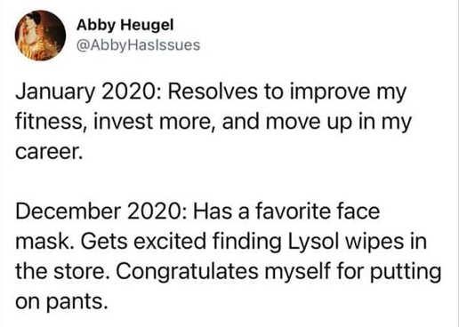 tweet abby heugel january vs december 2020