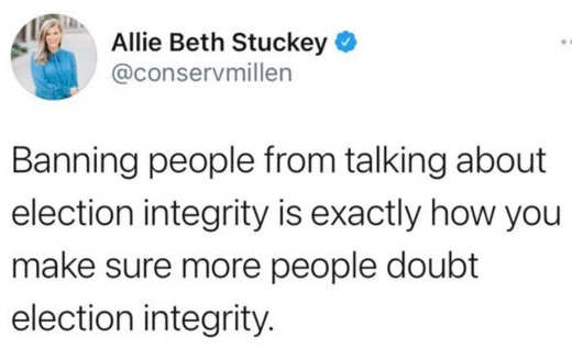 tweet annie beth stuckey bannying people talking about election integrity how people doubt