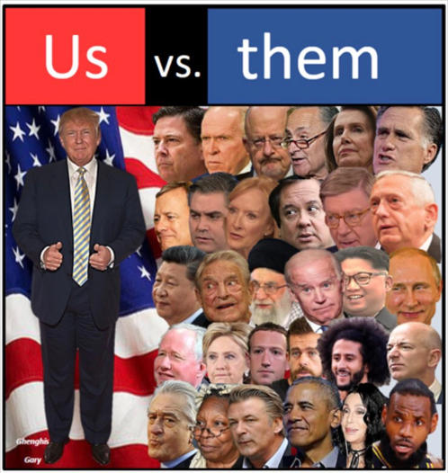 us vs them trump obama soros rinos lebron china hillary media
