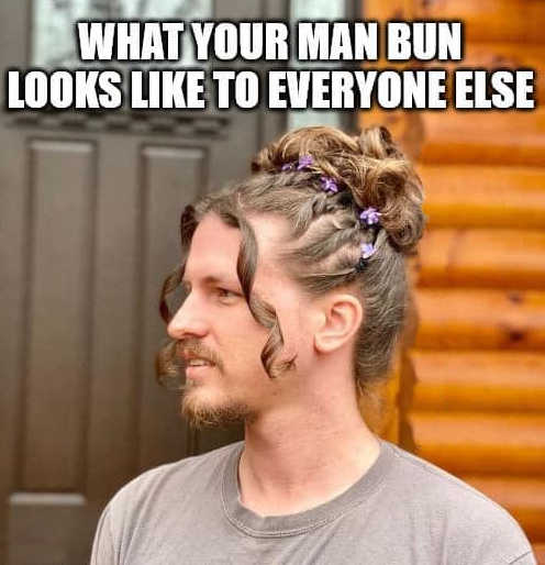 what your man bun looks like to everyone else curls ribbons