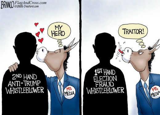 2nd hand anti trump whistleblower mainstream media my hero 1st hand election traitor