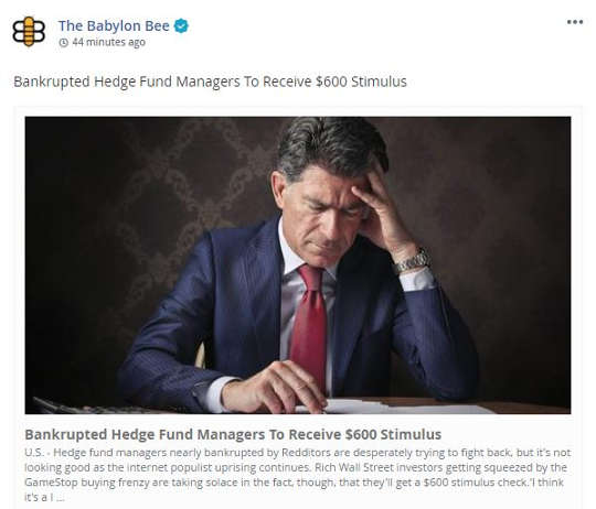 babylon bee bankrupted hedge fund managers to receive 600 stimulus