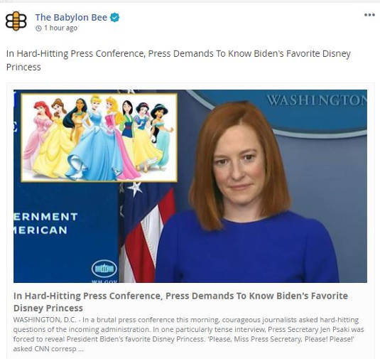 babylon bee hard hitting press conference press demands to know bidens favorite disney princess