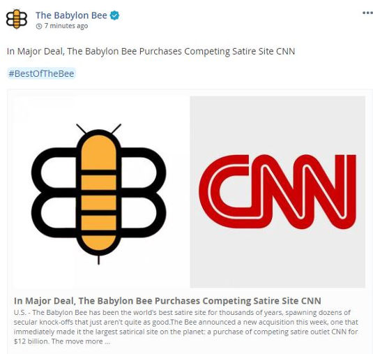 babylon bee in major deal bee purchases competing satire site cnn