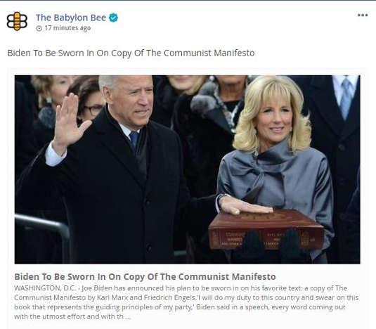 babylon bee joe biden sworn in copy of communist manifesto