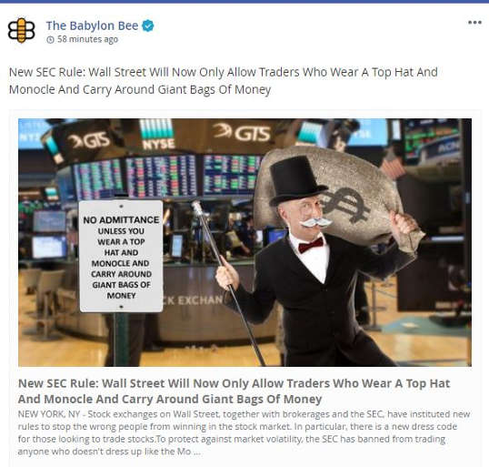 babylon bee new sec rule wall street only allow monopogy bags of money traders