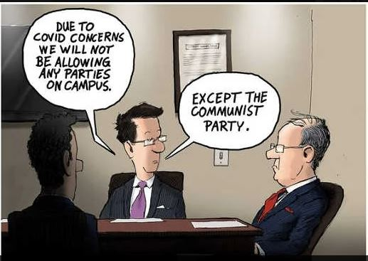due to covid concerns no parties on campus except communist party