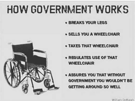 how government works breaks legs sells wheelchair taxes regulates