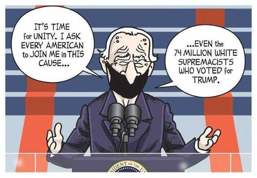 joe biden i ask every american unity even 74 million whate supremacist trump supporters