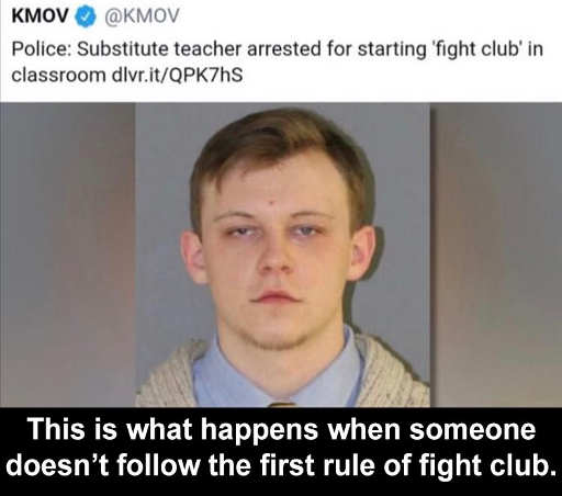 kmov police substitute teacher starting fight club in class first rule