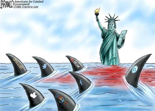 mainstream media amazon twitter democrats apple facebook google sharks statue liberty