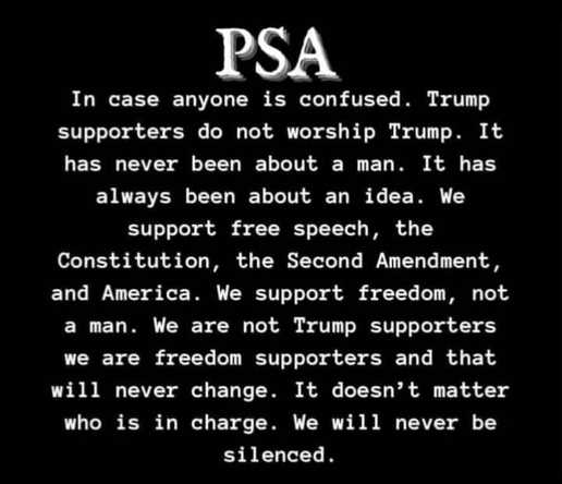message psa trump supporters dont worship him constitution free speech wont be silenced