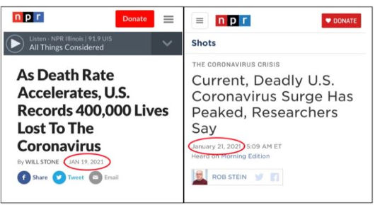 npr covid death rate comparisons before after joe biden inauguration