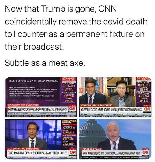 trump gone cnn removes covid death toll counter