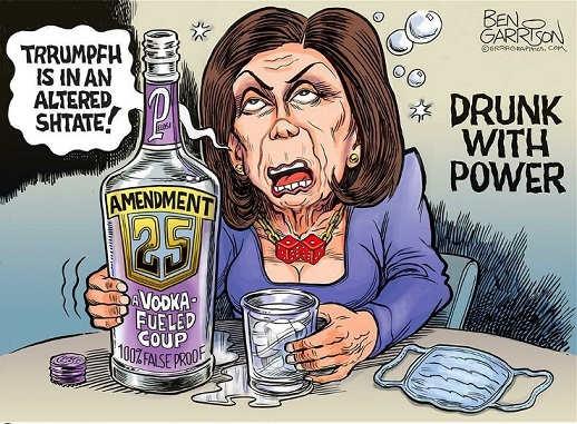 trump in altered state 25th amendment nancy pelosi drunk with power