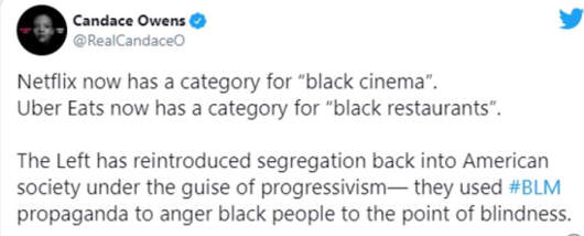 tweet candace owens now netflix black cinema uber black restaurants