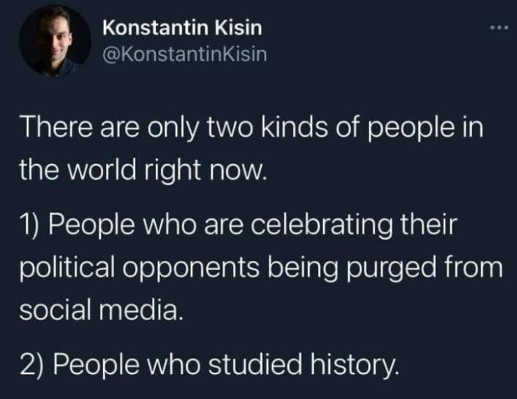 tweet konstantin kisin two kinds of people in world people celebrating opponents purge studied history