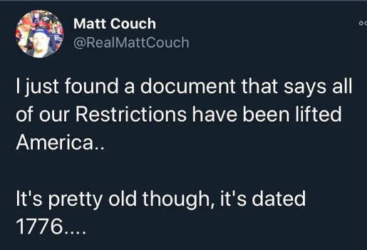 tweet matt couch found document lifts all restrictions old dated 1776