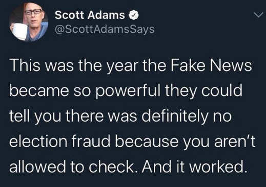 tweet scott fake news powerful election fraud not allowed to check