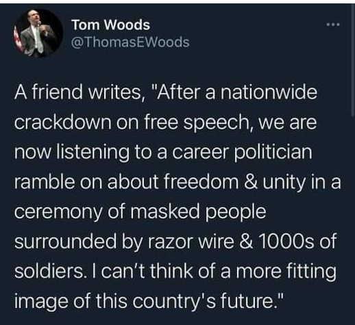 tweet tom woods nationwide crackdown free speech biden unity image of future