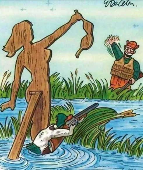 wooden woman no bra duck shooting hunter