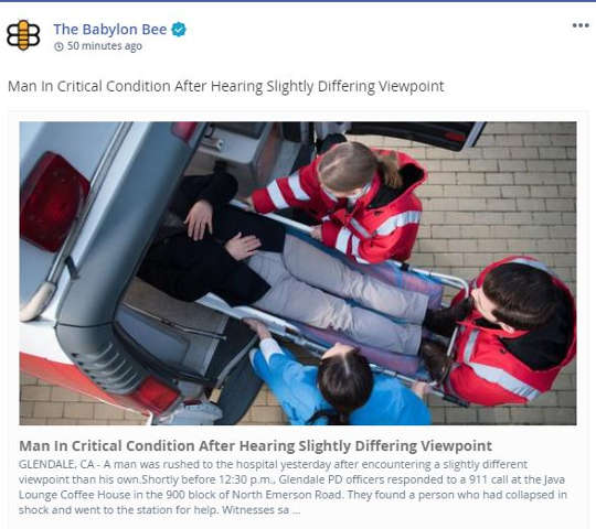 babylon bee man in critical condition after hearing slightly different viewpoint