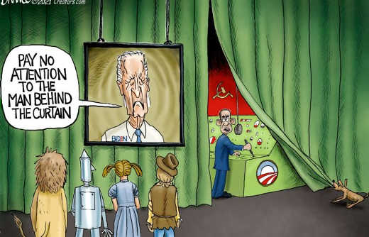 barack obama wizard of oz pay no attenteion to man behind biden curtain