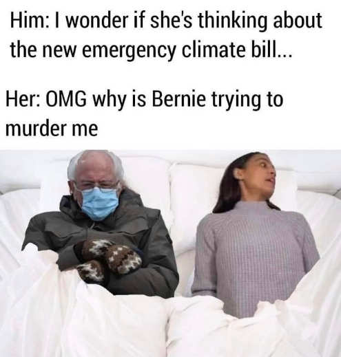 bernie mittens aoc trying to murder me emergency climate bill