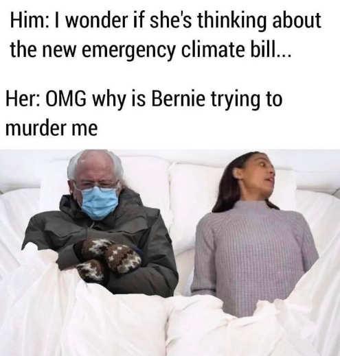 bernie mittens aoc trying to murder me emergency climate bill