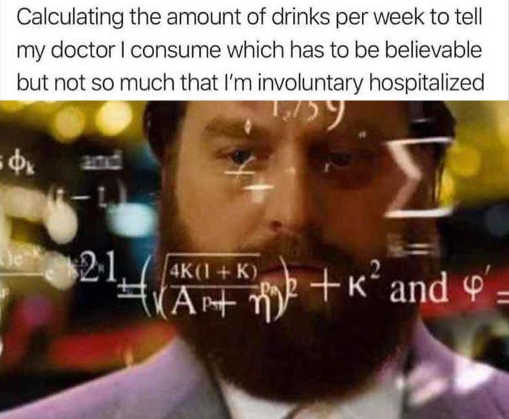calculating amount of drinks tell doctor consume not involuntary hospitalized