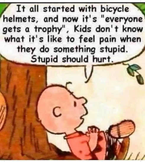 charlie brown everyone gets a trophy bike helmets stupid should hurt