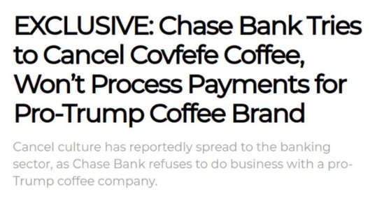 chase bank cancel covfefe coffee wont process payments pro trump coffee brand