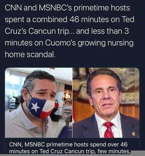 cnn msnbc ted cruz vacation vs andrew cuomo nursing home
