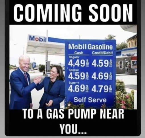 coming soon gas pump near you joe biden kamala harris