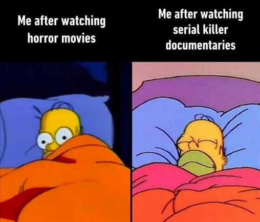 homer me after watching horror movies vs serial killer documentaries