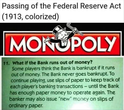passing of federal reserve act bank debt 1913 monopoly printing money